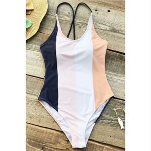 NWT Cupshe Blue & White Striped One Piece Swimsuit